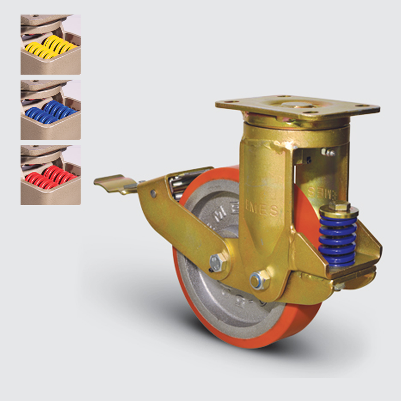 7302 DUR 200 F5 | 200 mm Plated Covered by Polyurethane on Cast Iron Suspensioned Roller Bearings Swivel Caster with Brake
