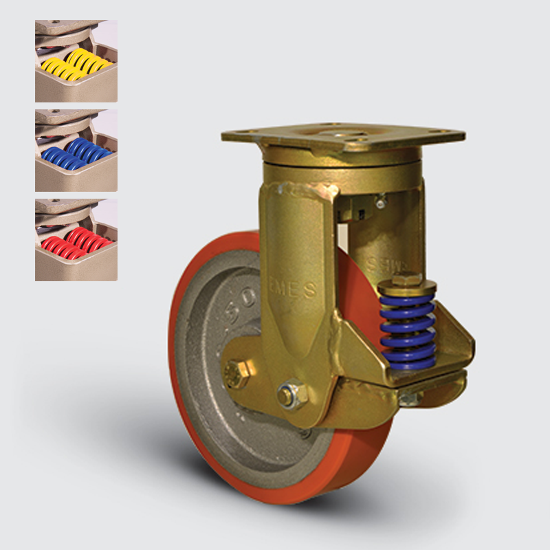 7302 DUR 200 | 200 mm Plated Covered by Polyurethane on Cast Iron Suspensioned Roller Bearings Swivel Caster