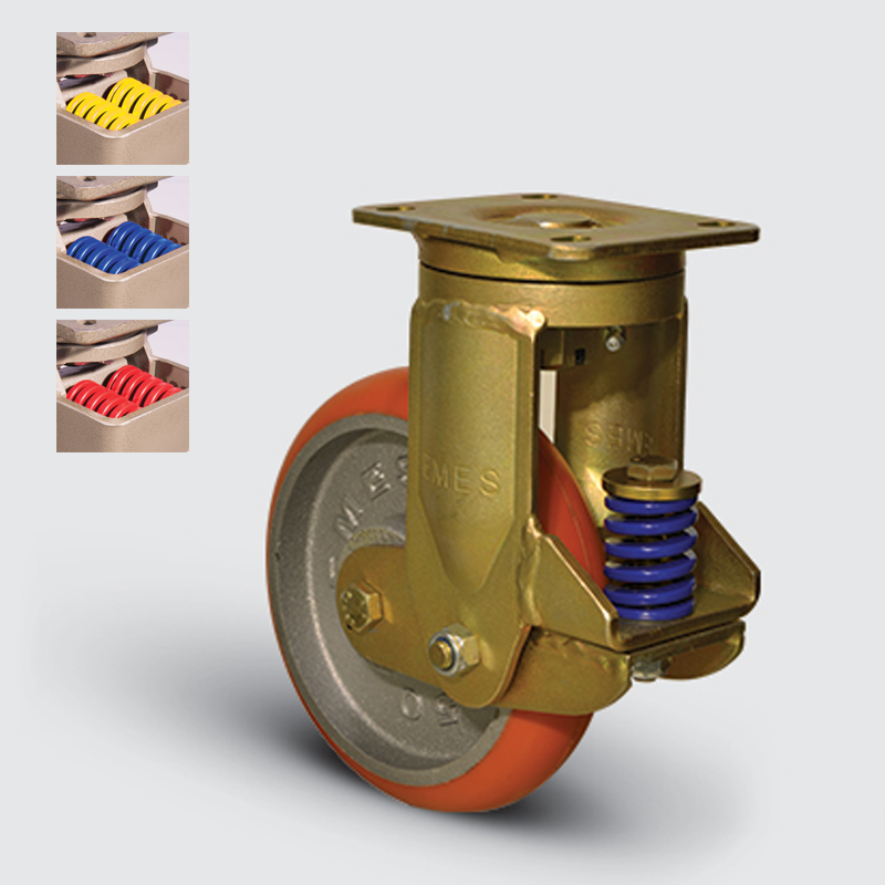 7302 DUR10 150 | 150 mm Plated Covered by Polyurethane on Cast Iron (Oval Formed) Suspensioned Roller Bearings Swivel Caster