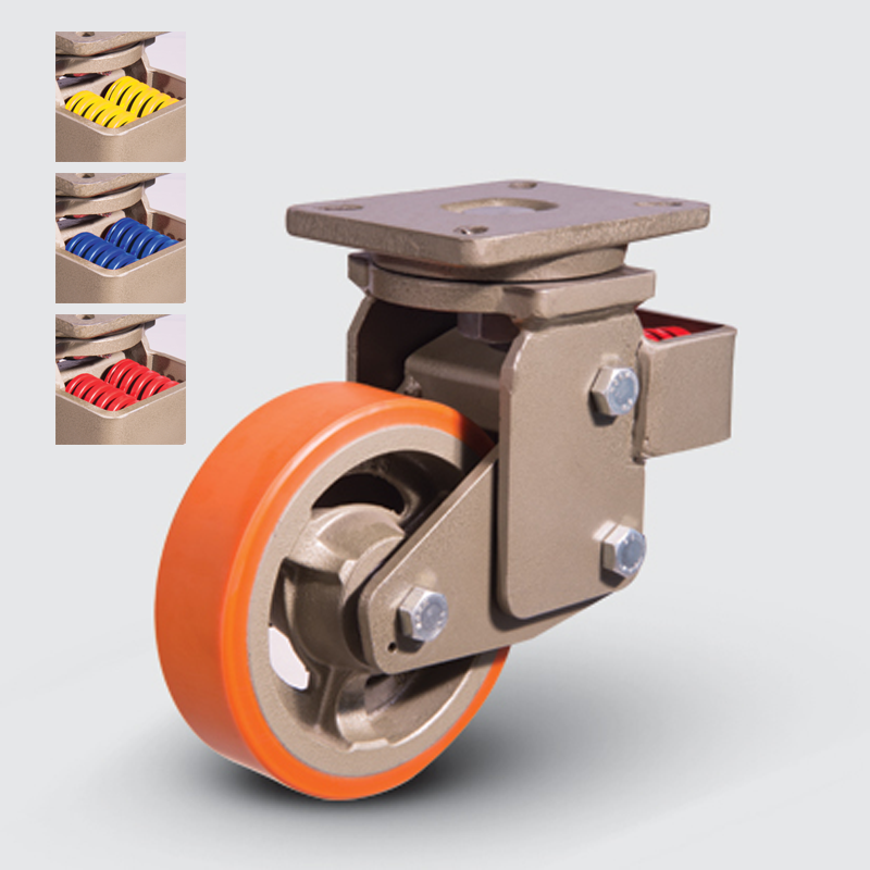 8302 DUR 200 | 200 mm Plated Covered by Polyurethane on Cast Iron Suspensioned Roller Bearings Swivel Caster
