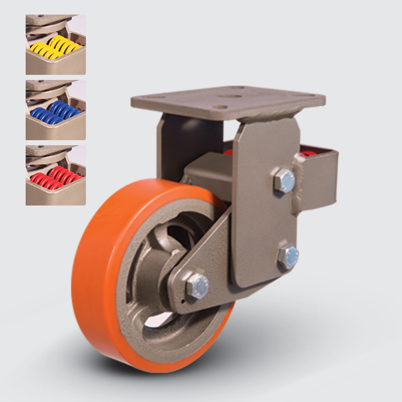 8305 DUR 250 | 250 mm Plated Covered by Polyurethane on Cast Iron Suspensioned Roller Bearings Fixed Caster
