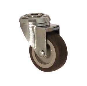 2400 MEB 075 | 75 mm Çaplı Delikli Moblen (PP) Üzeri Termoplastik Kaplı Burçlu Döner Teker