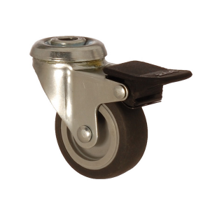 2400 MEB 075 F4 | 75 mm Bolt Hole Covered by Thermoplastic (TPE) on Polypropylene (PP) Bushing Swivel Caster with Brake
