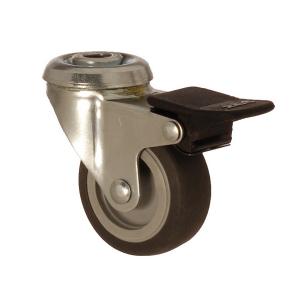 2400 MEB 075 F4 | 75 mm Çaplı Delikli Moblen (PP) Üzeri Termoplastik Kaplı Burçlu Frenli Döner Teker