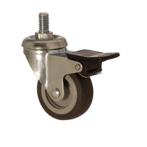2401 MEB 050 F4 | 50 mm Çaplı Civatalı Moblen (PP) Üzeri Termoplastik Kaplı Burçlu Frenli Döner Teker