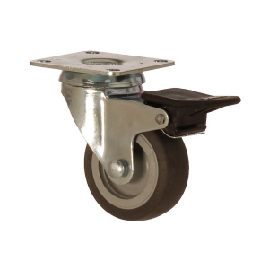 2402 MEB 075 F4 | 75 mm Plated Covered by Thermoplastic (TPE) on Polypropylene (PP) Bushing Swivel Caster with Brake
