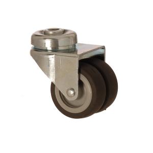 2600 MEB 050 | 50 mm Çaplı Delikli Moblen (PP) Üzeri Termoplastik Kaplı Çiftli Burçlu Döner Teker
