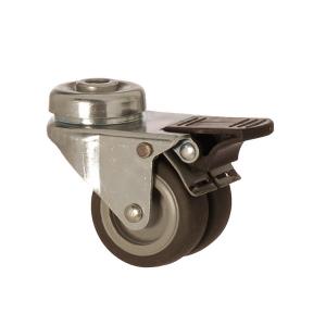 2600 MEB 050 F4 | 50 mm Çaplı Delikli Moblen (PP) Üzeri Termoplastik Kaplı Çiftli Burçlu Frenli Döner Teker