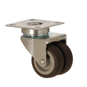 2602 MEB 050 | 50 mm Plated Covered by Thermoplastic (TPE) on Polypropylene (PP) Double Wheel Bushing Swivel Caster