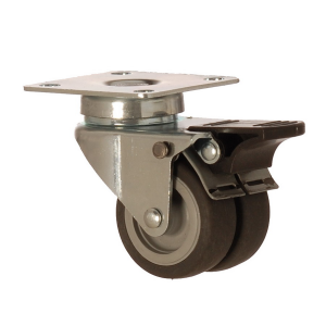 2602 MEB 050 F4 | 50 mm Plated Covered by Thermoplastic (TPE) on Polypropylene (PP) Double Wheel Bushing Swivel Caster with Brake