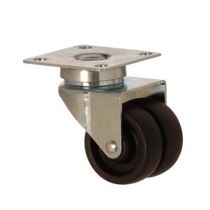 2602 MHB 050 | 50 mm Plated Polypropylene (PP) Double Wheel Bushing Swivel Caster