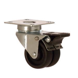 2602 MHB 050 F4 | 50 mm Plated Polypropylene (PP) Double Wheel Bushing Swivel Caster with Brake