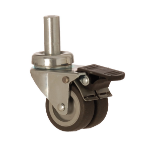 2607 MEB 050 F4 | 50 mm Pinned Covered by Thermoplastic (TPE) on Polypropylene (PP) Double Wheel Bushing Swivel Caster with Brake