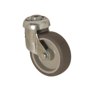 3300 MEB 125 | 125 mm Çaplı Delikli Moblen (PP) Üzeri Termoplastik Kaplı Burçlu Döner Teker