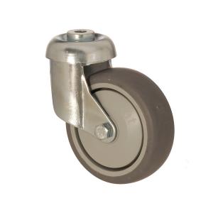 3300 MER 125 | 125 mm Çaplı Delikli Moblen (PP) Üzeri Termoplastik Kaplı Rulmanlı Döner Teker