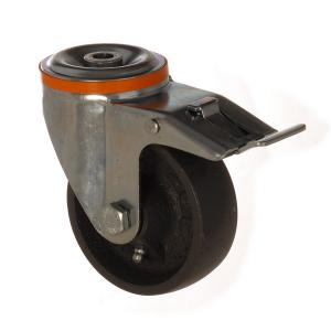 4100 DAB 080 F6 | 80 mm Çaplı Delikli Döküm Burçlu Frenli Döner Teker