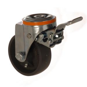 4100 DAB 125 F5 | 125 mm Çaplı Delikli Döküm Burçlu Frenli Döner Teker