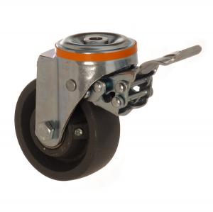 4100 DAR 100 F5 | 100 mm Çaplı Delikli Döküm Rulmanlı Frenli Döner Teker
