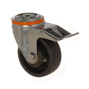 4100 DAR 125 F6 | 125 mm Çaplı Delikli Döküm Rulmanlı Frenli Döner Teker