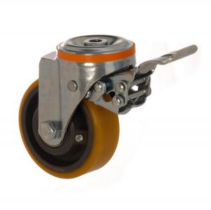 4100 DUR 100 F5 | 100 mm Çaplı Delikli Döküm Üzeri Poliüretan Kaplı Rulmanlı Frenli Döner Teker