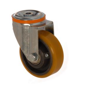 4100 DUR 125 | 125 mm Çaplı Delikli Döküm Üzeri Poliüretan Kaplı Rulmanlı Döner Teker