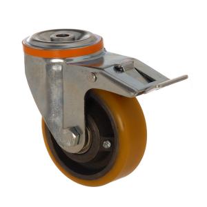 4100 DUR 125 F6 | 125 mm Çaplı Delikli Döküm Üzeri Poliüretan Kaplı Rulmanlı Frenli Döner Teker