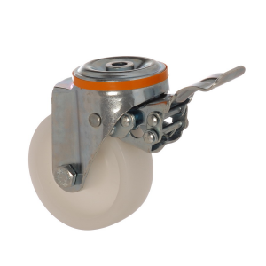 4100 MAB 125 F5 | 125 mm Çaplı Delikli Moblen (PP) Burçlu Frenli Döner Teker