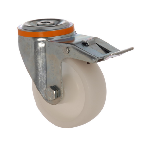4100 MAB 125 F6 | 125 mm Çaplı Delikli Moblen (PP) Burçlu Frenli Döner Teker