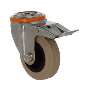 4100 MGB 100 F6 | 100 mm Çaplı Delikli Moblen (PP) Üzeri Gri Dolgu Lastik Burçlu Frenli Döner Teker