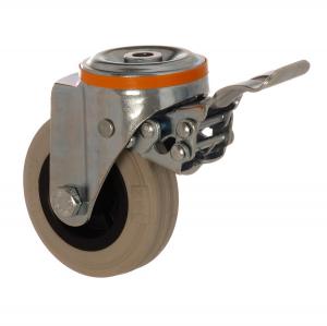 4100 MGB 125 F5 | 125 mm Çaplı Delikli Moblen (PP) Üzeri Gri Dolgu Lastik Burçlu Frenli Döner Teker