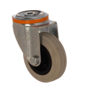 4100 MGB 150 | 150 mm Çaplı Delikli Moblen (PP) Üzeri Gri Dolgu Lastik Burçlu Döner Teker