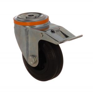 4100 MLB 100 F6   100 mm Çaplı Delikli Moblen (PP) Üzeri Dolgu Lastik Burçlu Frenli Döner Teker