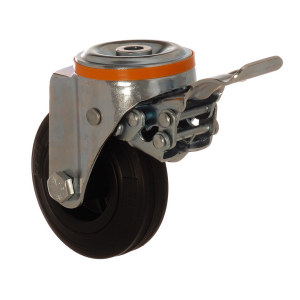 4100 MLB 125 F5 | 125 mm Çaplı Delikli Moblen (PP) Üzeri Dolgu Lastik Burçlu Frenli Döner Teker