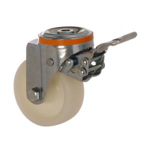 4100 PAB 150 F5 | 150 mm Çaplı Delikli Polyamid Burçlu Frenli Döner Teker