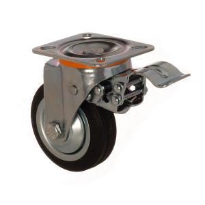 4112 SLB 150 F5 | 150 mm Çaplı Tablalı Sac Cant Üzeri Dolgu Lastik Burçlu Frenli Döner Teker