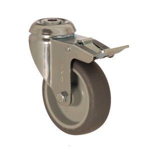 4400 MEB 100 F6   100 mm Çaplı Delikli Moblen (PP) Üzeri Termoplastik Kaplı Burçlu Frenli Döner Teker