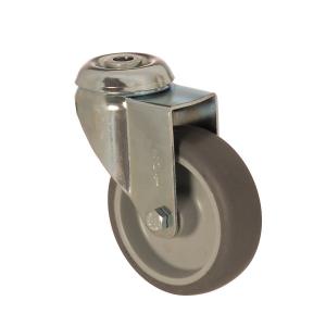 4400 MEB 125 | 125 mm Çaplı Delikli Moblen (PP) Üzeri Termoplastik Kaplı Burçlu Döner Teker