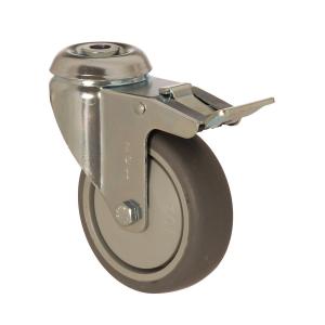 4400 MER 100 F6   100 mm Çaplı Delikli Moblen (PP) Üzeri Termoplastik Kaplı Rulmanlı Frenli Döner Teker