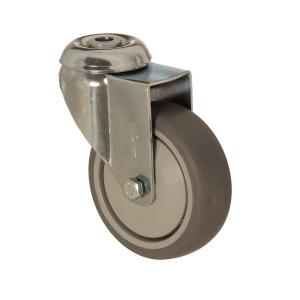4400 MER 125   125 mm Çaplı Delikli Moblen (PP) Üzeri Termoplastik Kaplı Rulmanlı Döner Teker