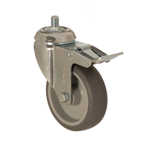 4401 MEB 100 F6 | 100 mm Bolted Covered by Thermoplastic (TPE) on Polypropylene (PP) Bushing Swivel Caster with Brake