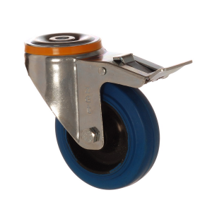4500 MBB 100 F6 | 100 mm Bolt Hole Rubber on Polypropylene (PP) Bushing Swivel Caster with Brake
