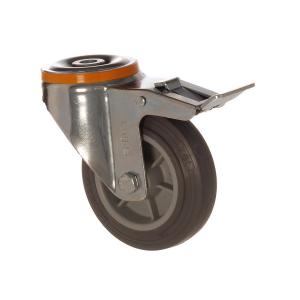 4500 MEB 100 F6   100 mm Çaplı Delikli Moblen (PP) Üzeri Termoplastik Kaplı Burçlu Frenli Döner Teker