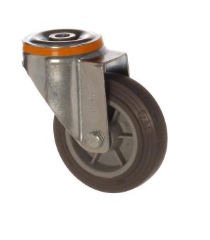 4500 MEB 125   125 mm Çaplı Delikli Moblen (PP) Üzeri Termoplastik Kaplı Burçlu Döner Teker