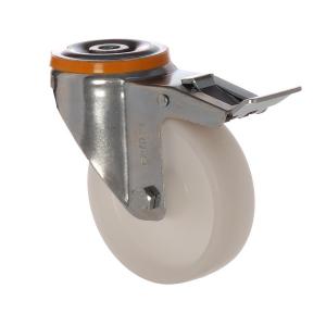 4500 MHB 080 F6 | 80 mm Çaplı Delikli Moblen (PP) Burçlu Frenli Döner Teker