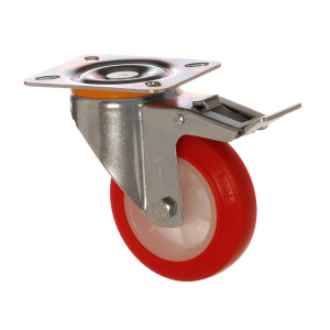 4502 PUB 100 F6 | 100 mm Plated Covered by Polyurethane on Polyamide (PA6) Bushing Swivel Caster with Brake
