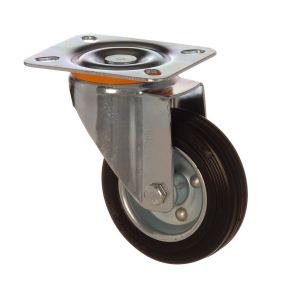 4502 SLB 125 | 125 mm Plated Solid Rubber on Sheet Rim Bushing Swivel Caster