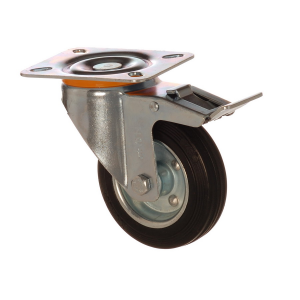 4502 SLB 125 F6 | 125 mm Plated Solid Rubber on Sheet Rim Bushing Swivel Caster with Brake