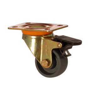 6102 DAB 055 F4 | 55 mm Plated Cast Iron Bushing Swivel Caster with Brake