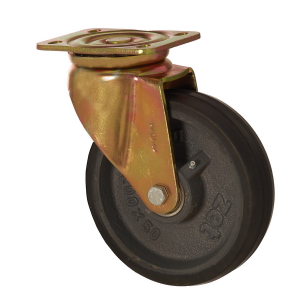 6102 DLR 200 | 200 mm Plated Covered by Rubber on Cast Iron Roller Bearings Swivel Caster