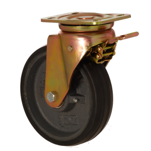 6102 DLR 200 F5 | 200 mm Plated Covered by Rubber on Cast Iron Roller Bearings Swivel Caster with Brake